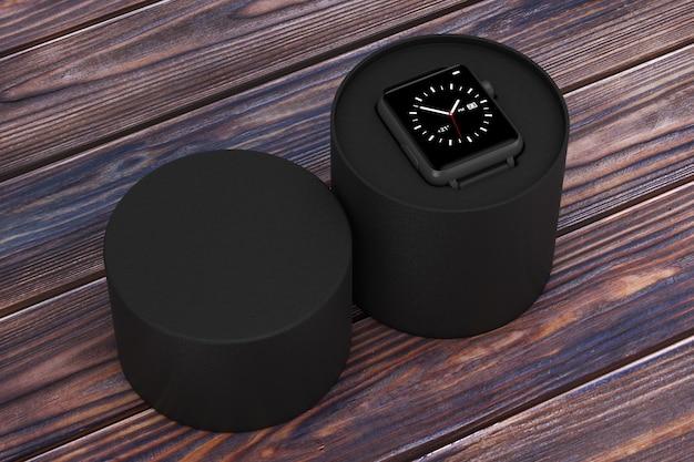 Zwart modern slim horlogemodel en band met zwarte geschenkdoos op een houten tafel. 3d-rendering