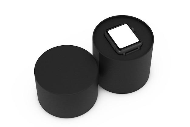 Zwart modern slim horlogemodel en band met zwarte geschenkdoos op een witte achtergrond. 3d-rendering Premium Foto