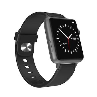 Zwart modern slim horlogemodel met riem op een witte achtergrond. 3d-rendering