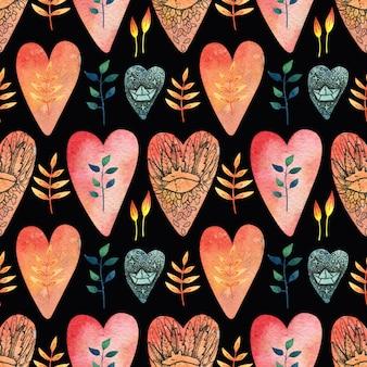Zwart naadloos patroon met gekleurde (rood, oranje, blauw) harten met de afbeelding van een schattige vos, een karabijnhaak, bladeren en bloemen.