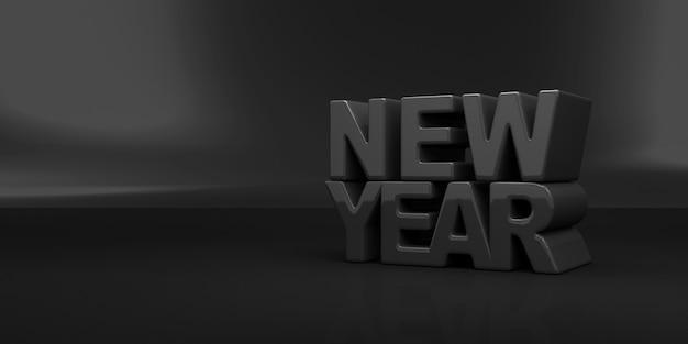 Zwart nieuwjaarsymbool op zwarte studioachtergrond