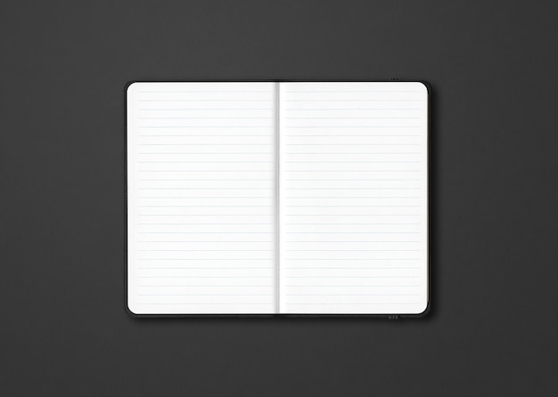 Zwart open bekleed notebook mockup geïsoleerd