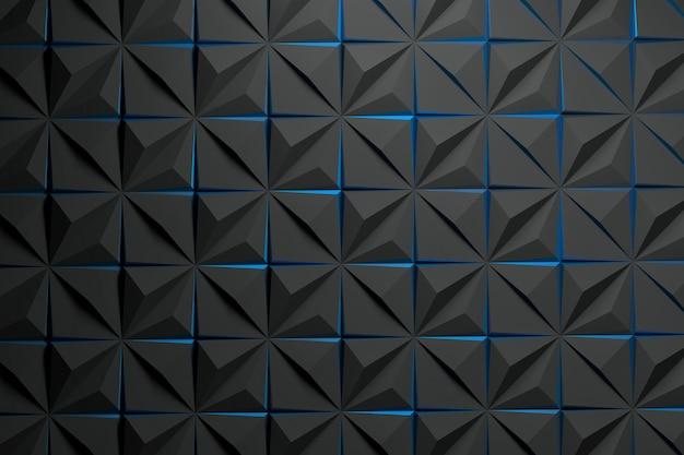 Zwart patroon met piramides en blauwe randen