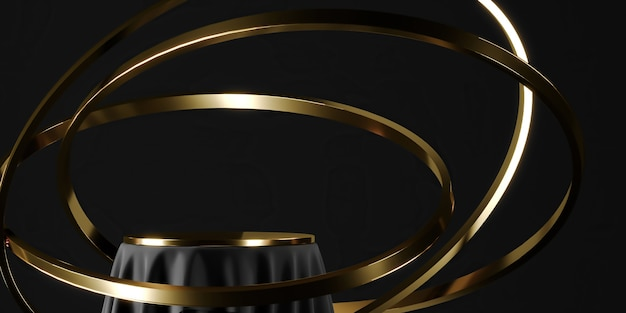 Zwart podium en gouden tafelblad, zwevende gouden ring. abstracte achtergrond voor productpresentatie of advertenties. 3d-rendering