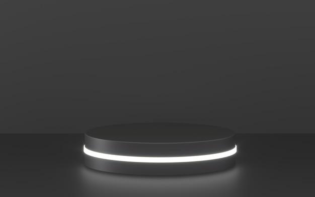 Zwart podium met verlichting voor productpresentatie