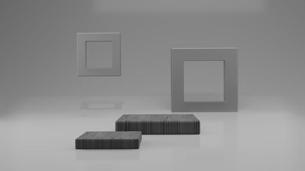 Zwart podium voor producten op witte achtergrond