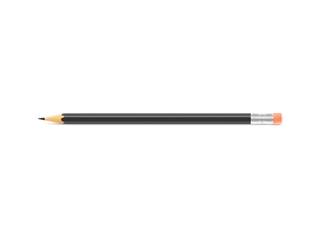 Zwart potlood ligt op geïsoleerde achtergrond