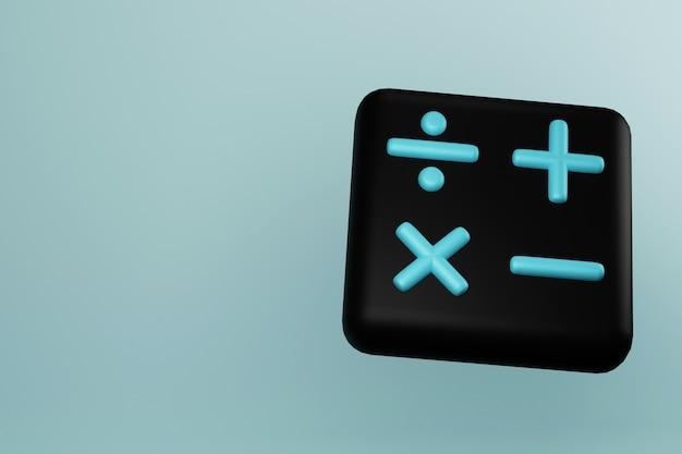 Zwart rekenmachinepictogram met wiskundetekens 3d illustratie