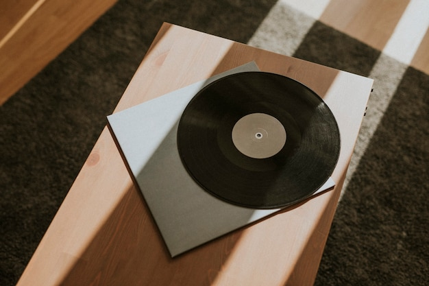 Zwart retro vinyl record ontwerpelement
