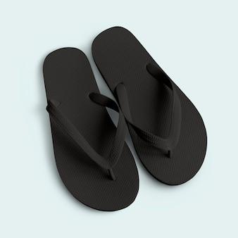 Zwart rubberen teenslipper
