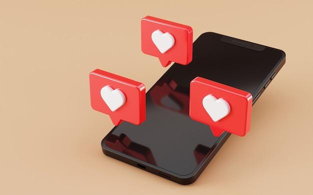 Zwart scherm smartphone met instagram zoals pictogram 3d render