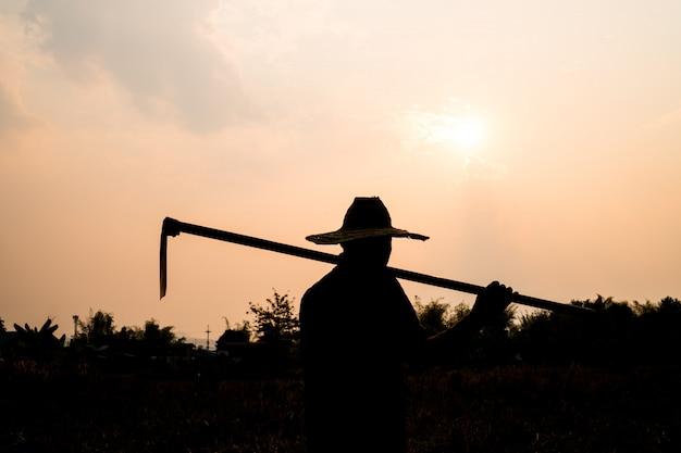 Zwart silhouet van een arbeider of tuinman holdingsspade bij zonsonderganglicht