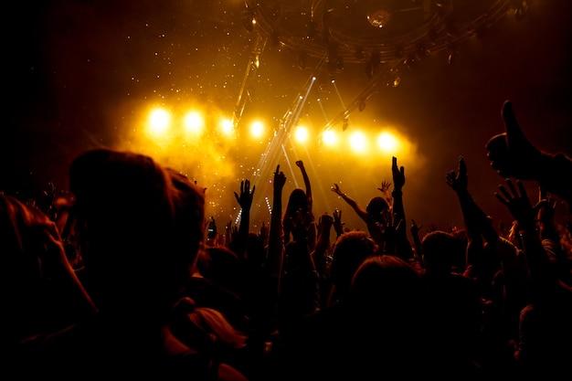 Zwart silhouet van mensen op rockconcert, een menigte met hun handen omhoog