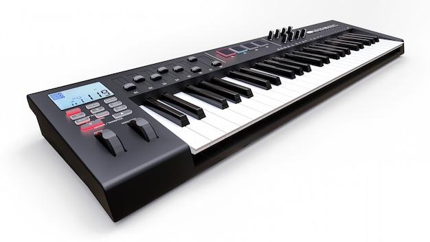 Zwart synthesizer midi-toetsenbord op witte synth-toetsen close-up