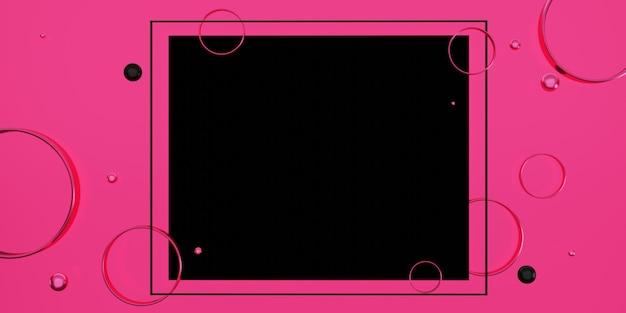 Zwart tekstkader op een roze achtergrond versierd met kralen en ringen 3d illustratie