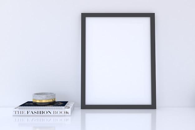 Zwart verticaal framemodel met boeken