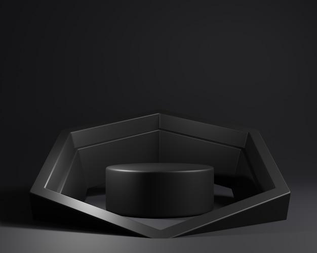 Zwart voetstukmodel met zeshoekige vorm
