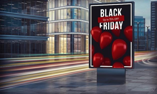 Zwart vrijdagaanplakbord in het 3d teruggeven van de stadsnacht