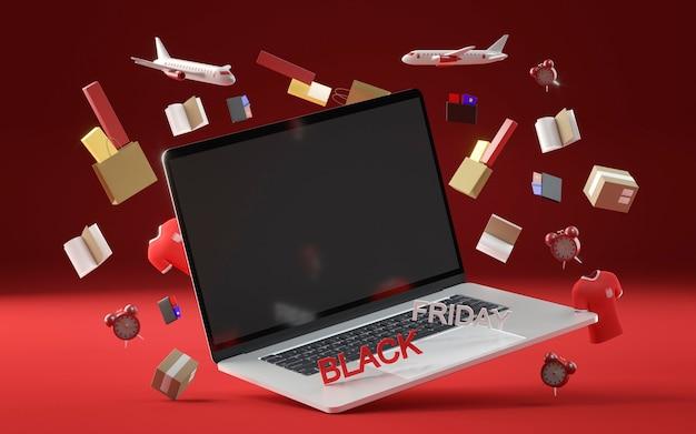 Zwart vrijdagconcept met laptop