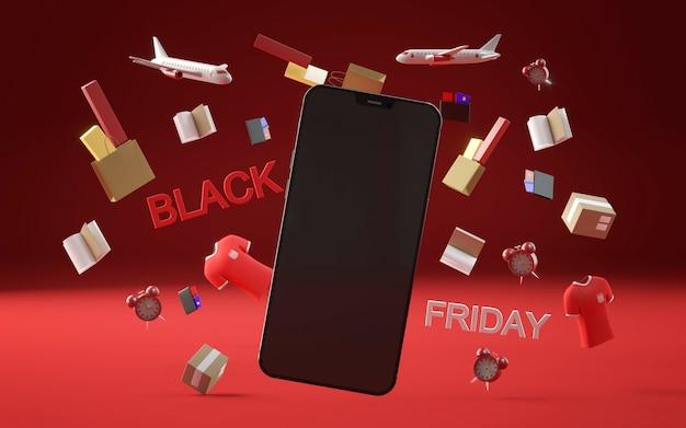 Zwart vrijdagevenement met smartphone
