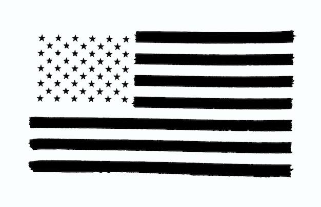 Zwart-wit afbeelding van de vlag van de vs op een witte achtergrond met uitknippad