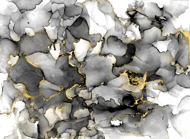 Zwart-wit aquarel achtergrond met gouden glitters. aquarel alcohol inkt plons, vloeibare stroom textuur verf, luxe abstracte digitale papier fine art patroon