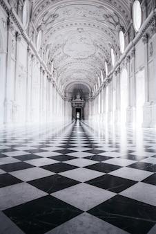 Zwart-wit foto van een prachtig gebouw met sculpturen en een schaakvloer