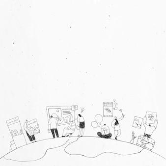 Zwart-wit handgetekende productie team doodle art design