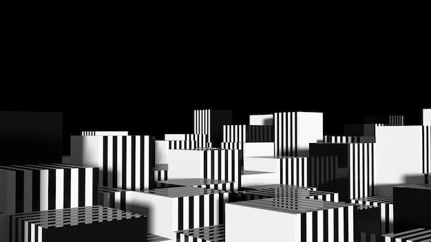 Zwart-wit kubus split level compositie