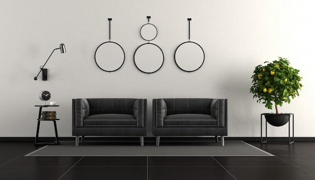 Zwart-wit moderne woonkamer