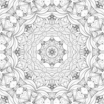 Zwart-wit patroon dat bloemen en bladeren kleurt