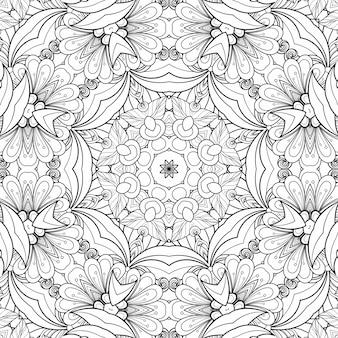 Zwart-wit patroon kleuren bloemen en bladeren. geometrische mooie achtergrond papier plant kleurboek