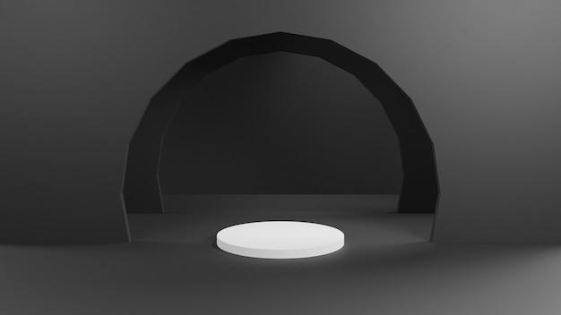 Zwart-wit podium voor de tentoonstelling van goederen Premium Foto