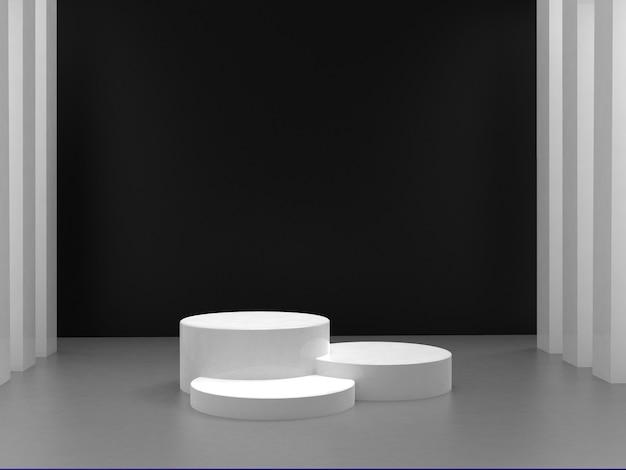 Zwart-wit renderen van 3d geometrische abstracte kubusvormige achtergrond
