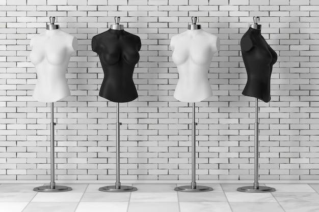 Zwart-wit vintage tailor women mennequins voor bakstenen muur. 3d-rendering