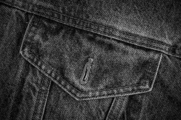 Zwart-witte denimtextuur. grijze jeans abstracte textuur