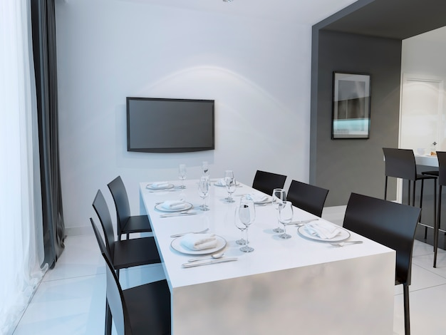 Zwart-witte eetkamertrend met eettafel voor zes personen.