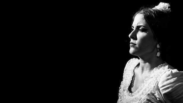 Zwart-witte flamenca met exemplaarruimte