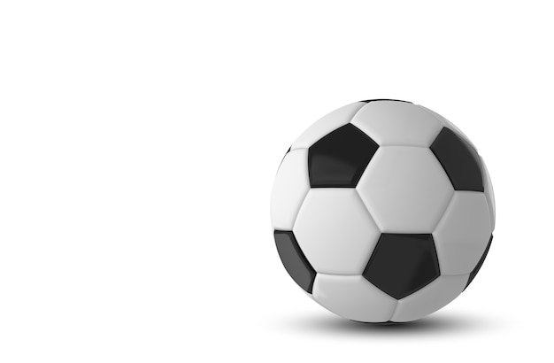 Zwart-witte voetbalbal op witte achtergrond