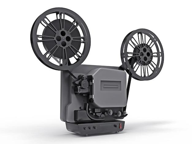 Zwarte 3d bioscoop filmprojector geïsoleerd op een witte achtergrond. 3d-rendering.