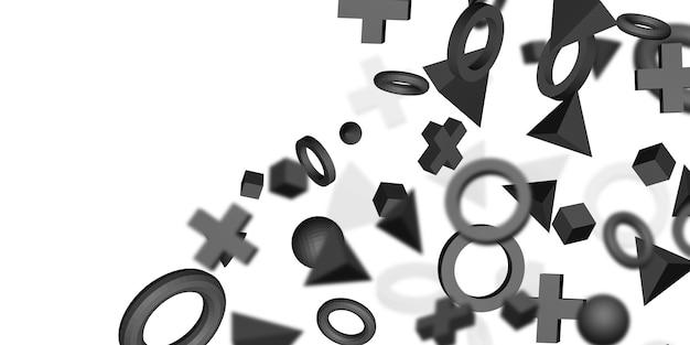 Zwarte 3d geometrische vorm op witte 3d illustratie als achtergrond