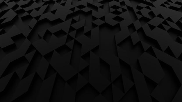 Zwarte abstracte achtergrond met ruw oppervlak driehoekig licht en schaduw - 3d render.