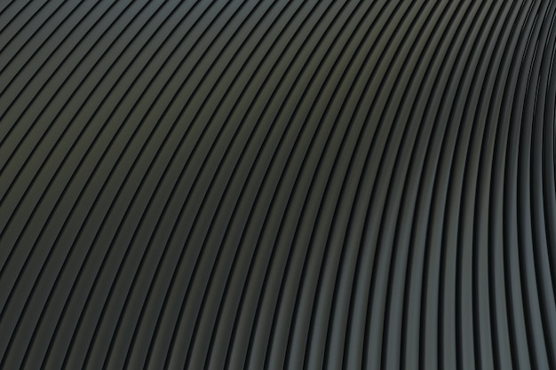 Zwarte abstracte muur golf architectuur abstracte achtergrond 3d-rendering, zwarte achtergrond voor presentatie