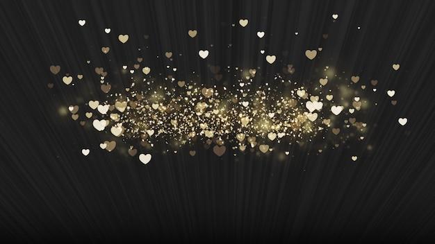 Zwarte achtergrond, digitale handtekening met sprankelende hartvormige deeltjes.