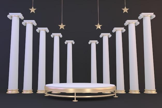 Zwarte achtergrond en gouden podium tonen geometrisch cosmetisch product. 3d-weergave