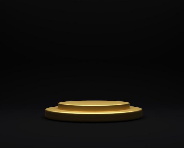 Zwarte achtergrond goud gerenderd podium