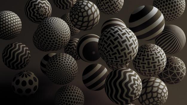 Zwarte achtergrond met ballen. 3d-afbeelding, 3d-rendering.