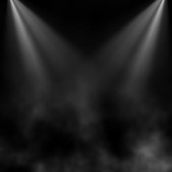 Zwarte achtergrond met rook en schijnwerpers