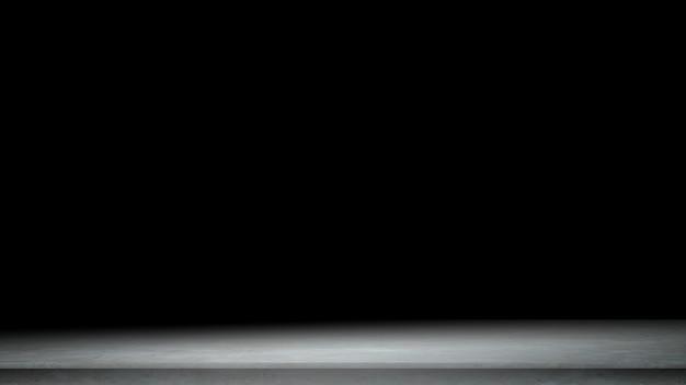 Zwarte achtergrond voor productshow met elegante lichte, donkere en grijze abstracte betonnen muur