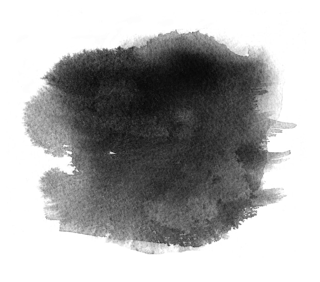 Zwarte aquarelvlek met aquarelplons, verfvlek en penseelstreek